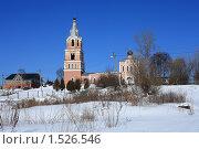 Купить «Подмосковный зимний пейзаж и храм», эксклюзивное фото № 1526546, снято 4 марта 2010 г. (c) Яна Королёва / Фотобанк Лори