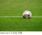 Футбольный мяч на поле. Стоковое фото, фотограф Юлия Жмачинская / Фотобанк Лори