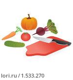 Купить «Овощи и разделочная доска с ножом», иллюстрация № 1533270 (c) Наталия Каупонен / Фотобанк Лори