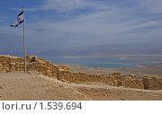 Купить «Израильский флаг на крепости Масада, Израиль», фото № 1539694, снято 22 февраля 2010 г. (c) GrayFox / Фотобанк Лори