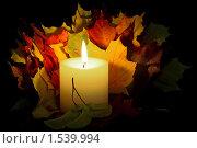 Осенний натюрморт со свечой. Стоковое фото, фотограф Андреев Павел / Фотобанк Лори