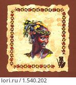Портрет юной негритянки, племени Нуба. Стоковая иллюстрация, иллюстратор Yana Geruk / Фотобанк Лори
