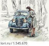 Девушка и ретроавтомобиль. Стоковая иллюстрация, иллюстратор Yana Geruk / Фотобанк Лори
