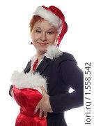Купить «Девушка в деловом костюме примеряет новогодний костюм», фото № 1558542, снято 13 декабря 2009 г. (c) Наталья Белотелова / Фотобанк Лори