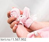 Ножки новорождённого в руках мамы. Стоковое фото, фотограф Игорь Губарев / Фотобанк Лори