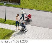 Купить «Гуляющие с малышами молодые мамы», фото № 1581230, снято 22 июля 2009 г. (c) Svetlana Mihailova / Фотобанк Лори