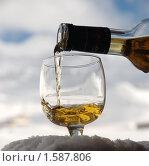 Купить «Наливание коньяка в бокал на фоне неба и гор», фото № 1587806, снято 26 марта 2010 г. (c) Семин Илья / Фотобанк Лори