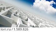 Купить «Абстрактный мир 3D архитектурная конструкция на фоне синего неба», иллюстрация № 1589826 (c) Сахно Роман Викторович / Фотобанк Лори