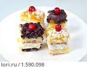 Купить «Мини пирожное с кремом, джемом и шоколадной крошкой», фото № 1590098, снято 7 августа 2009 г. (c) ElenArt / Фотобанк Лори