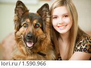 Купить «Девушка с собакой», фото № 1590966, снято 27 марта 2010 г. (c) BestPhotoStudio / Фотобанк Лори