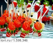 Купить «Бутерброды канапе из свежих овощей», фото № 1598346, снято 1 апреля 2010 г. (c) Анна Мартынова / Фотобанк Лори