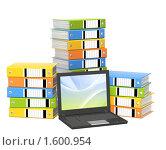 Купить «Папки и ноутбук», иллюстрация № 1600954 (c) Лукиянова Наталья / Фотобанк Лори