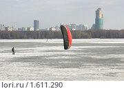 Зимний кайтинг, Строгинский залив, Москва (2010 год). Стоковое фото, фотограф Наталия Шевченко / Фотобанк Лори
