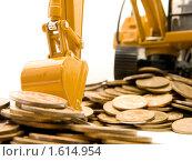 Купить «Желтый игрушечный экскаватор и монеты», фото № 1614954, снято 7 апреля 2010 г. (c) Андрей Лавренов / Фотобанк Лори