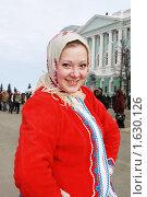 Купить «Девушка в русском национальном костюме. Праздник масленицы.», фото № 1630126, снято 14 февраля 2010 г. (c) Igor Lijashkov / Фотобанк Лори