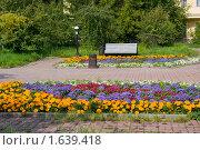 Купить «Скамейка в парке», фото № 1639418, снято 15 августа 2009 г. (c) Александр Рябов / Фотобанк Лори