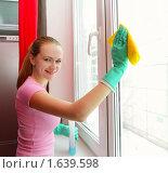 Купить «Девушка, моющая окно», фото № 1639598, снято 27 марта 2010 г. (c) Гладских Татьяна / Фотобанк Лори