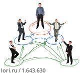Купить «Схема сети с бизнесменами, коллаж», фото № 1643630, снято 15 августа 2018 г. (c) Losevsky Pavel / Фотобанк Лори