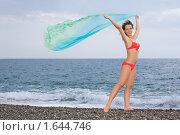 Купить «Красивая молодая женщина  на берегу моря», фото № 1644746, снято 18 июля 2009 г. (c) Losevsky Pavel / Фотобанк Лори