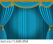 Купить «Синий театральный занавес», иллюстрация № 1645954 (c) Куликова Татьяна / Фотобанк Лори