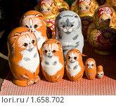 Купить «Нетрадиционные матрёшки в виде кошек», фото № 1658702, снято 3 апреля 2010 г. (c) ИВА Афонская / Фотобанк Лори