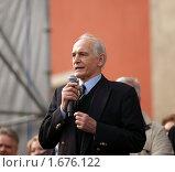 Василий Семёнович Лановой,  речь на первомайском митинге (2009 год). Редакционное фото, фотограф Артур (Мangalor) / Фотобанк Лори
