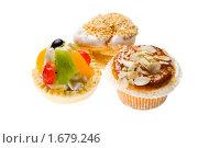 Купить «Пирожные на белом фоне», фото № 1679246, снято 26 сентября 2009 г. (c) Юлия Сайганова / Фотобанк Лори