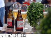 Немецкое пиво на столике в уличном кафе. Фокус на бокалах (2009 год). Редакционное фото, фотограф Svet / Фотобанк Лори
