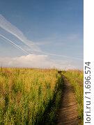 Купить «Грунтовая дорога в поле», фото № 1696574, снято 23 августа 2009 г. (c) Юрий Бельмесов / Фотобанк Лори