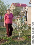 Купить «Женщина возле цветущей карликовой яблони», фото № 1698770, снято 12 мая 2010 г. (c) Александр Романов / Фотобанк Лори