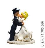Купить «Сахарная фигурка жениха и невесты для свадебного торта на белом фоне», фото № 1705566, снято 13 мая 2010 г. (c) Даниил Разумов / Фотобанк Лори