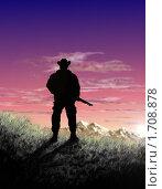 Охотник на фоне заката в горах. Стоковая иллюстрация, иллюстратор Мирослав Лавренцов / Фотобанк Лори