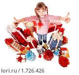 Купить «Счастливая девочка с группой подарков», фото № 1726426, снято 6 декабря 2009 г. (c) Gennadiy Poznyakov / Фотобанк Лори