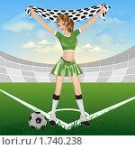 Купить «Девушка фанатка футбола», иллюстрация № 1740238 (c) Алексей Григорьев / Фотобанк Лори