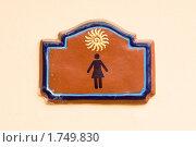 Купить «Коричневая табличка женский туалет на стене», фото № 1749830, снято 22 сентября 2008 г. (c) Александр Косарев / Фотобанк Лори