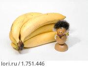 Купить «Гроздь бананов и сувенир обезьяна», эксклюзивное фото № 1751446, снято 4 июня 2010 г. (c) Александр Щепин / Фотобанк Лори