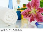 Купить «Лилия, полотенце и камни», фото № 1760806, снято 20 августа 2008 г. (c) Наталия Кленова / Фотобанк Лори