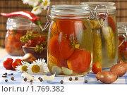 Купить «Консервированные помидоры и огурцы в банках», эксклюзивное фото № 1769382, снято 8 июня 2010 г. (c) Лисовская Наталья / Фотобанк Лори