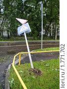 Дорожный знак, упавший в результате штормового ветра в Москве 13 июня 2010 года. Стоковое фото, фотограф Бабкина Ольга / Фотобанк Лори