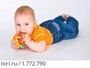 Купить «Ребенок играет погремушкой», эксклюзивное фото № 1772790, снято 20 мая 2010 г. (c) Куликова Вероника / Фотобанк Лори