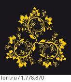 Купить «Узор в стиле Хохлома на черном фоне», иллюстрация № 1778870 (c) Олеся Сарычева / Фотобанк Лори