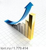 Купить «График успешного роста - столбцы становятся золотыми», иллюстрация № 1779414 (c) Антон Балаж / Фотобанк Лори