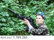 Купить «Десантник с оружием», эксклюзивное фото № 1789266, снято 17 июня 2010 г. (c) Татьяна Белова / Фотобанк Лори