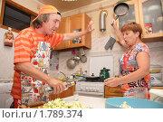 Купить «Жена бьет сковородкой мужа-алкоголика (фокус на руке с бутылкой)», фото № 1789374, снято 21 июня 2010 г. (c) Анна Мартынова / Фотобанк Лори