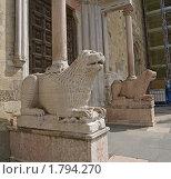 Купить «Львы, охраняющие вход в Кафедральный Санта-Мария-Ассунта. Парма, Италия.», фото № 1794270, снято 1 мая 2010 г. (c) GrayFox / Фотобанк Лори