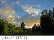 Закат с тенью на небе. Стоковое фото, фотограф Плещук Алексей / Фотобанк Лори