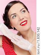 Купить «Девушка в красном платье и белых перчатках», фото № 1830142, снято 9 марта 2010 г. (c) Serg Zastavkin / Фотобанк Лори