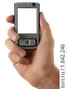 Купить «Мобильный телефон в руке», фото № 1842246, снято 22 октября 2009 г. (c) Антон Балаж / Фотобанк Лори