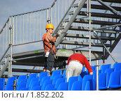 Купить «Рабочиие-монтажники», эксклюзивное фото № 1852202, снято 18 июня 2010 г. (c) lana1501 / Фотобанк Лори