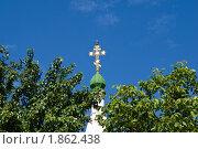 Золотой крест на фоне синего неба. Стоковое фото, фотограф Борис Панасюк / Фотобанк Лори
